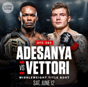 Bet on UFC 263 Adesanya -280 Vs Vettori +200 Middleweight Championship Fight
