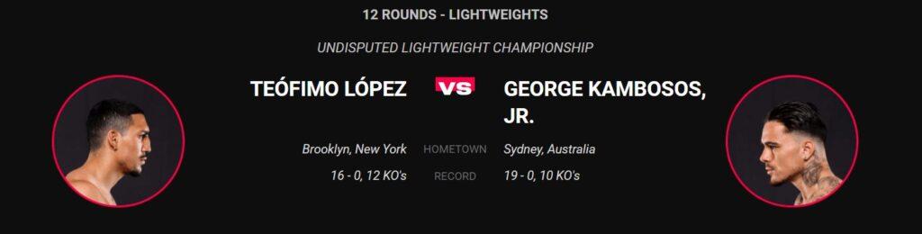 Bet on Lopez Vs Kambosos Jr June 19th Triller Fight Club